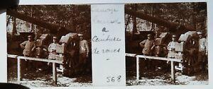 C / Photo Plaque de verre Guerre 14-18 / canon lourd à ceinture de roues