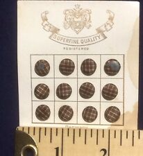 """Lot of 12 Victorian 5/16"""" Silk Covered Brown Buttons on Original Card Germany"""