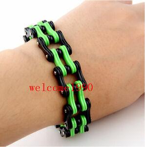 Green Black Nice Motorcycle chain Stainless Steel Bracelet Women Men 16mm 8.66'