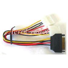 8inch (AOC) SATA 15pin (Male) Power to Dual 4pin Molex (Female) Y Cable
