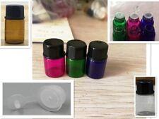 50pcs 2ml Glass Dram Bottle w/ Orifice Reducer 5 Color Sample Vial Essential Oil