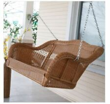 Brown Resin Wicker Porch Swing Hanging Chain Patio Furniture Loveseat 2 Person