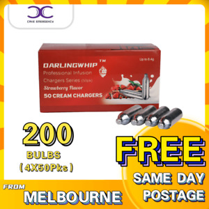 200 (4X 50PKS) CREAM CHARGERS DARLINGWHIP - STRAWBERRY Flavour - 8.4g N20