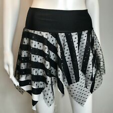 Black Fishnet Skirt Size LARGE Gothic Striped Clothing Pirate Costume Cyber Punk