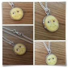 Emoji face Yellow moon Grin eyes smile Charm pendant necklace txt geek