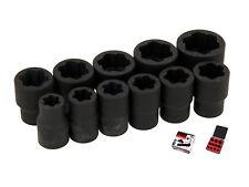 "11 Piece Anti Slip / skid Twist Socket Set in Case For Damaged Nuts - 3/8"" Drive"