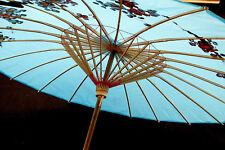 JAPANESE L BLUE CHERRY BLOSSOM PARASOL UMBRELLA CHINESE WEDDING PARTY a9