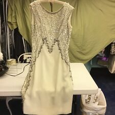 Vintage White Crepe 70's Dress with Sequins Beads and Baubles