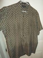 Marc Edwards LARGE 100% Silk Short Sleeve Button-Front Shirt GRAY Print