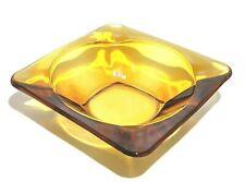 """Glass Ashtray Amber Heavy 4"""" EUC"""