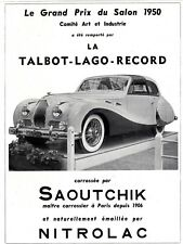 AUTOMOBILE FRENCH MAG AD TALBOT-LAGO-RECORD 1950 SAOUTCHIK