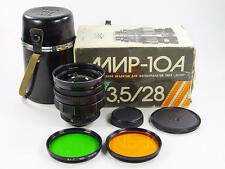 Wide angle Mir-10A 3.5/28mm M42 KMZ Zenit made. s/n 851837. Kit in retail box.