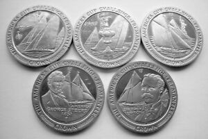COMPLETE SET OF 5 x 1987 AMERICA'S CUP CHALLENGE FREEMANTLE ISLE OF MAN CROWNS