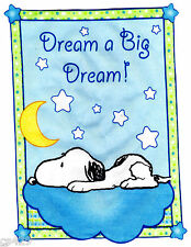 "4.5"" Baby snoopy sweet dreams wall safe fabric decal cut out character"