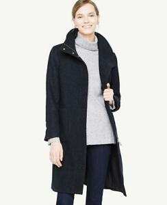 NWT Ann Taylor Women's Blue Navy Boucle Funnel Neck Coat Sz XS Petite