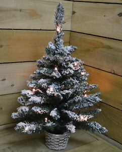 60cm (2ft) Pre Lit Battery LED Snow Flocked Miniature Christmas Tree in Green