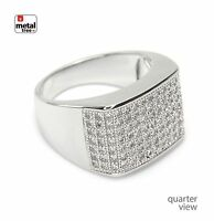 Men's Hip Hop Fashion Iced Out Silver Plated Hand Set CZ Square Band Pinky Rings