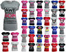 New Womens Ladies Graphic Print Funny Slogan Top Short Sleeve TShirt Tee UK 8-14