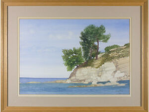 Coastal Seascape by Shirley Teed - Original Watercolour Painting. Listed Artist