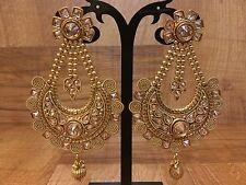 Indian Pakistani Ethnic Bollywood Gold Plated Crystal Stone Jhumki Bali Earrings