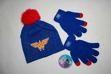 Girls Wonder Woman Beanie Hat Red Faux Fur Pom Blue Stretch Gloves Touch Tips