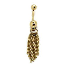 14K Yellow Gold Belly Ring with 9 Dangling Bead Chains