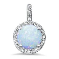 Halo White Opal & Cubic Zirconia .925 Sterling Silver Pendant