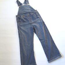 Vtg 90s dark blue DENIM DUNGAREES 12 M women's indie retro overalls maternity
