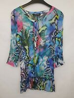 BETTY BARCLAY Ladies tunic 3/4 sleeves crepe polyester multicoloured size 10 02