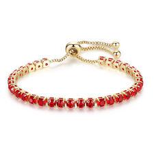 Women 18K Gold Filled Red Garnet Adjustable Pull Chain Bracelet Wedding Jewelry