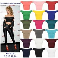 Womens Ladies Off Shoulder Crop Top Bardot Sleeveless Vest Short T-Shirt Plain