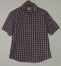 M&S Men's Check Cotton Short Sleeve Shirt Size M