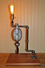 Steam Punk Lamp w//Pully & Cast Iron Piping - Nice!!