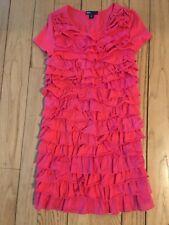 Gap Kids Girls Dark Pink Tiered Ruffle Dress with Cap Sleeves - Size Medium 8