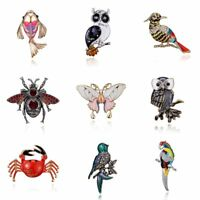 Fashion Animal Owl Bird Butterfly Crystal Brooch Pin Women Costume Jewelry Gift