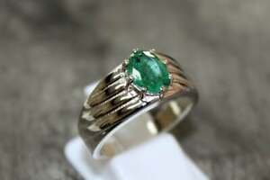 925 Silver Emerald Ring Men 2.5 Ct Emerald Engagement Ring Natural Emerald Ring
