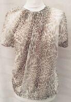 Mango Suit S Animal Leopard Print Beige Short Sleeve Front Pleated Blouse