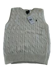 NEW POLO RALPH LAUREN BOYS CREAM CABLE KNIT SWEATER VEST SIZE 7 NWT