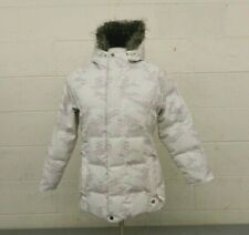 Burton Patterned White Hooded Down Insulated Girls Puffy Jacket XL EXCELLENT