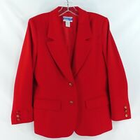 Pendleton Women's Petite Size 8 Red 100% Wool 2-Button Blazer JacketMade USA
