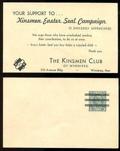 5456 - WINNIPEG 1940s-50s Precancel Postal Card - Kinsmen Easter Seals Campaign
