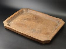 More details for antique rustic oak hard wood rectangle tray