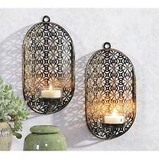 Dekoratives 2er Set Wandkerzenhalter für Teelichter aus Metall oval Schwarz/Gold