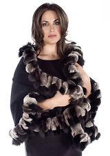 Plus Size Cashmere Wrap Shawl Scarf Chinchilla Rex Black Fox Fur Genuine