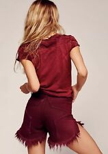 NWT One Teaspoon Juliettes High Rise Star Back Frayed Shorts Size 27 Bordeaux