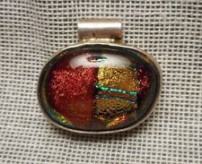 Artisan Pendant - Sterling Silver 925 & Colorful Iridescent Dichroic Art Glass