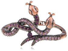 Copper tune Crystal Rhinestune Twin Serpents Snake Cuff Bracelet Bangle