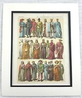 1895 Antico Stampa 15th Secolo Inglese Royal Costume Abito Moda Mezzo Età