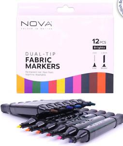 NOVA Dual Tip FABRIC MARKERS Permanent Ink / Non Toxic, Machine Washable