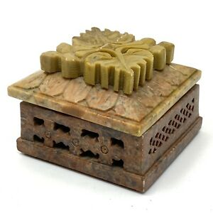 """Vtg Soapstone Lidded Trinket Box Potpourri 3"""" x 3"""" x 2"""""""
